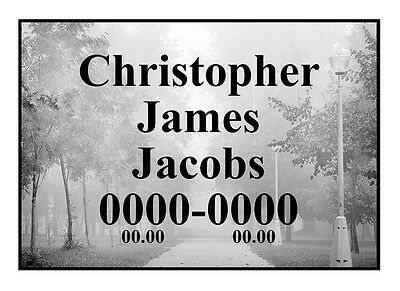 "Enameled Metal Gravestone Memorial Photo Plaque 6.3"" х 9"" epitaph on a plate"