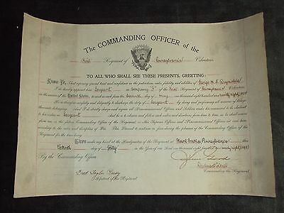1898 Pennsylvania Volunteers Sergeant Appointment Certificate US Military