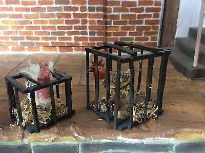 12 th Dolls House Miniature Pair of Crates With a Turkey & 2 Chickens