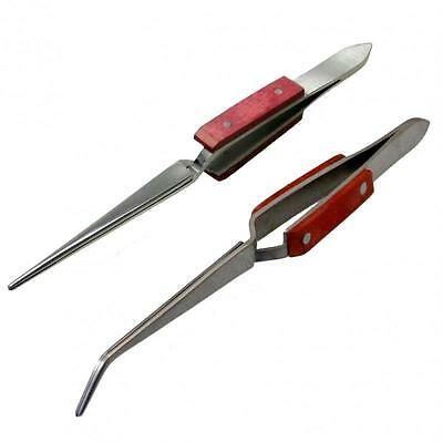 2pc SELF LOCKING WOODEN HANDLE TWEEZERS SET Bent And Straight Nose  Long UK