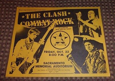 1980's The Clash Combat Rock Concert poster handbill Sacramento Memorial