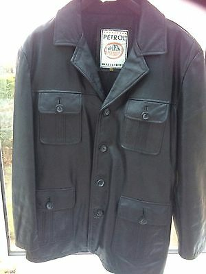"""Black Leather Classic Look Jacket Size XL  (Chest 48"""")"""
