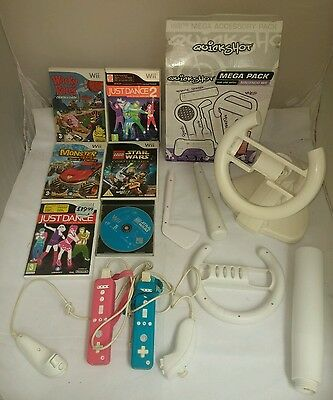 Wii Game-on Compatible Wheel, Bat Club Gear 6 Games Controllers UNTESTED Bundle