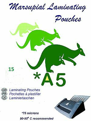 A5 gloss laminating pouches 150 micron 15 foils of 75 micron per side