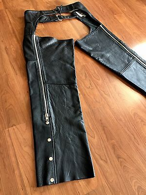 Open Road Black Leather Motorcycle Riding Chaps Belted Zippers Wilsons Sz Large