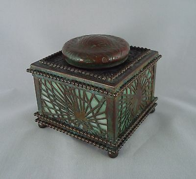 Rare Early Tiffany Studios Bronze And Favrile Glass Pine Needle Inkwell