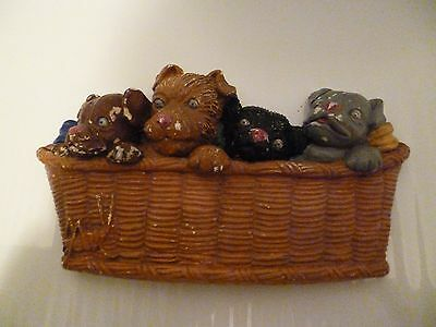 Vintage Chalkware Four Dogs In A Basket Walling Hanging Plaque