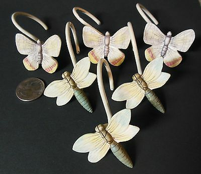 Set of 6 Unique Crafted Resin Shower Curtain Hook Cute Butterfly Dragonfly Decor