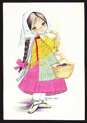 Embroidery Design Outfit Spain Espana Girl with Basket Spanish Ibiza Postcard PC