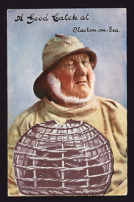 A Good Catch at Clacton on Sea Pull Out Postcard Fisherman 1917 Novelty Card