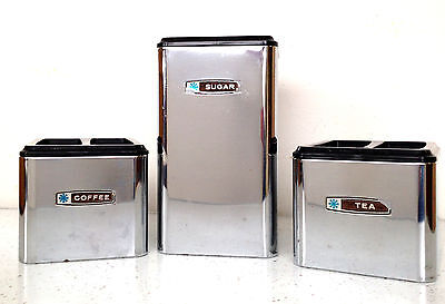 Vintage Chrome Stainless Stackable Canister Set Kromex Coffee Tea Sugar MCM