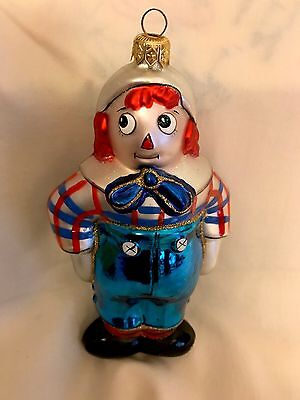 New Kurt Adler Polonaise Christmas Blown Glass Ornament Raggedy Andy Doll Mint