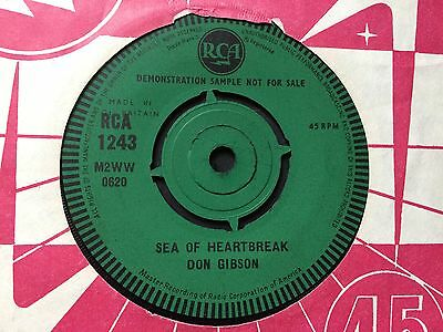 "DON GIBSON: ""SEA OF HEARTBREAK"" DJ DEMO COPY on UK RCA 1243"