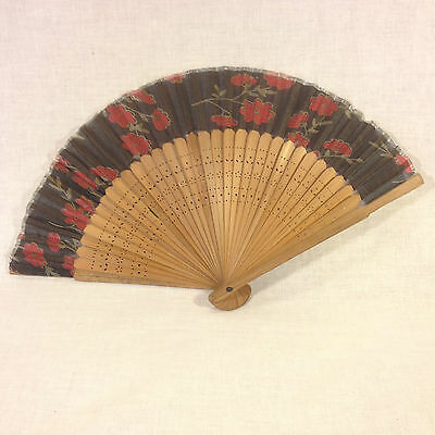 Vintage Japanese Hand Paint on Black Silk & Carved Bamboo Hand Fan