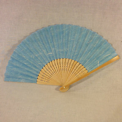 Japanese Carved Bamboo & Wax Paper Hand Fan
