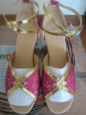 Ladies Latin/Ballroom Dance Shoes Size 6 NEW Gorgeous SPARKLING PINK & GOLD
