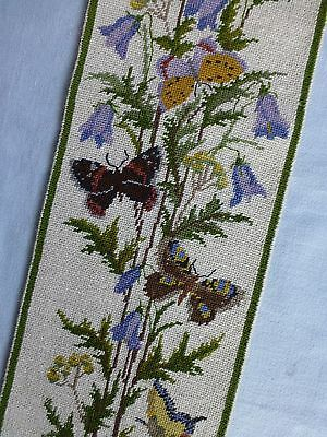 Vintage/Antique style embroidered needlepoint bell pull wall hanging butterflies