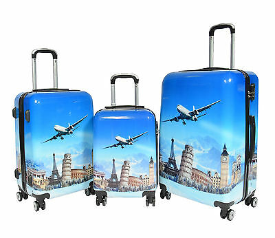 Luggage Suitcase Hard Shell Lightweight 4 Wheel Spinner ABS Blue Aeroplane BAGS