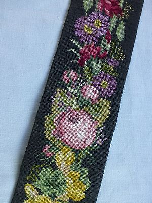 Antique Victorian style 'Berlin' embroidered needlepoint bell pull wall hanging
