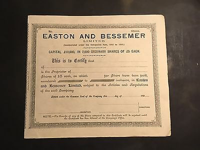 Easton And Bessemer Share Certificates