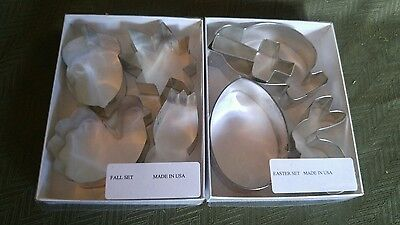 Vintage Lot Of 2 Sets Of Metal Cookie Cutters Easter & Thanksgiving Fall Unused