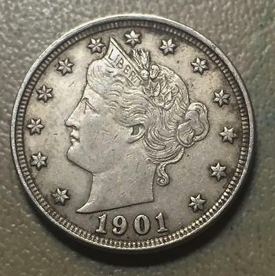 1901  V Nickel   Choice Xf   Collector Coin.  #6273