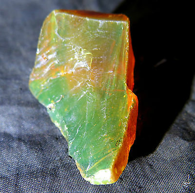 Dominican Crystal Clear Orange Green Amber  Rough Specimen  47x30x18mm