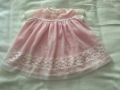 Pretty Vintage Baby Dress (new born). Double Layered. Embroidery Detail