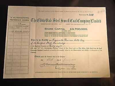 The Ebbw Vale Steel, Iron And Coal Company Share Certificate
