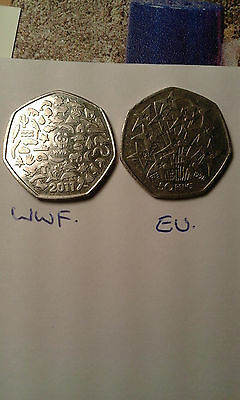 50 pence coin WWF and EU