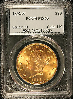 1892-S $20 Gold Liberty Double Eagle MS63 PCGS