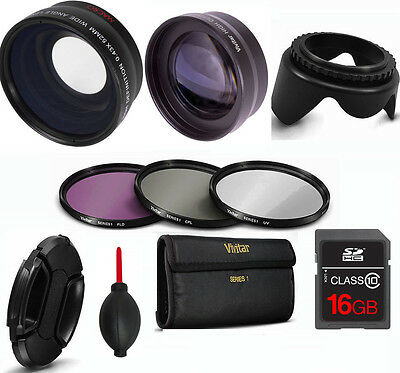 Wide Angle Macro Lens + Zoom Lens + 3 Hd Filters +16Gb Card For Sony Alpha A5100