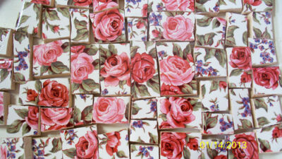 Sale - Free Shipping ~* Pink & Wine Colored Roses CHINTZ ~* 50+ Mosaic Tiles