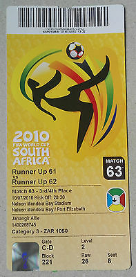 2010 World Cup Finals Germany - Ticket - Game 63. 3Rd Place Final. Nelson Mandel