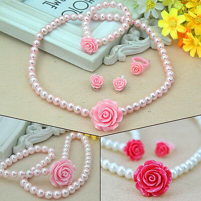 Kids Girls Pearl Flower Shape Necklace Bracelet Ring Ear Studs Clips Jewelry Set