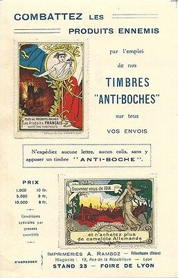 ERINOPHILIE - TIMBRES ANTI-BOCHES + PUBLICITE EMAILLERIE LYONNAISE au VERSO