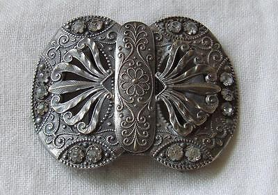 Antique Brass & Silver Toned Metal Intricately Designed Buckle With Stones