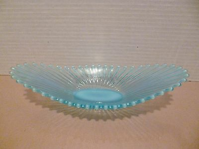 Vintage Fostoria Heirloom Blue Opalescent Oval Beaded Edge Bowl