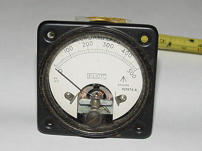 1mA FSD Analogue ELLIOT DC current panel ammeter Meter Vintage 1950's