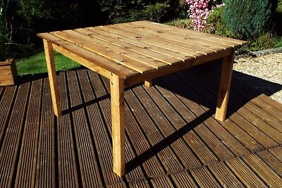 HGG Large Square Wooden Garden Table - Fully Assembled - Outdoor Patio