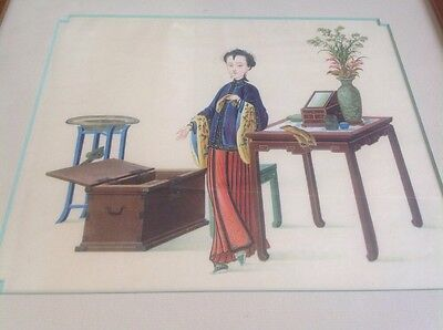 CHINESE Lady Plith Paint Nicely Framed Bunell Frame Shop Newbury St. Boston