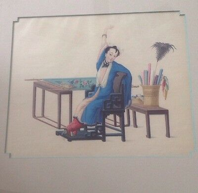 CHINESE Lady Plith Paint Nicely Framed Bunell Frame Shop Newbury St Boston Chair