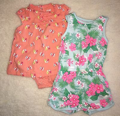 Girls Toddler 2 Piece Lot Rompers Carter's Size 18 months