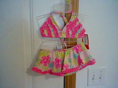 Brand New Infant Girl's Size 18 Months Kidgets Two Piece Bathing Suit
