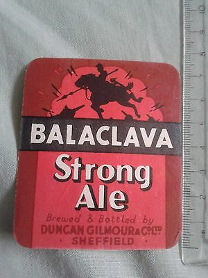 Duncan Gilmour & Co. Ltd. Sheffield – Balaclava Strong Ale – Beer Label