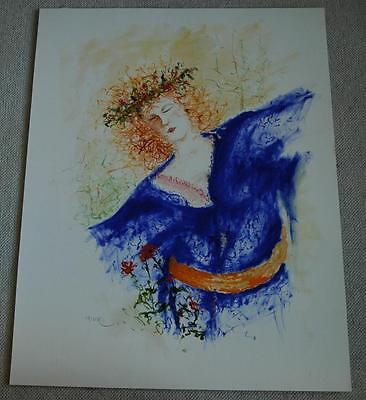 Large Watercolor of a Beautiful Red Headed Medieval Woman Signed Tatler