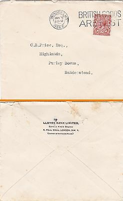 Gb : Lloyds Bank, Cox's & King's Branch, Pall Mall, London Cover (1926)