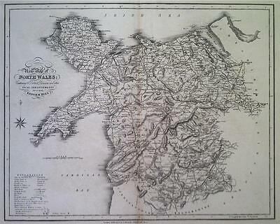 Map of NORTH WALES c1838 by James Duncan, VGC, 100% Original Engraved
