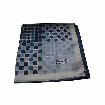 Tom Ford Pocket Square/Hanky - Blue/White Circle/Square Print - 100% Silk