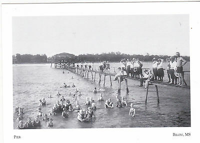 """*POSTCARD-""""Long Pier""""...Along Beach/with Swimmers @ Biloxi, Ms. -CLASSIC (#20)"""